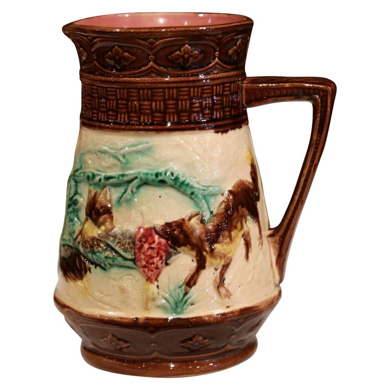 19th Century French Hand-Painted Barbotine Wine or Water Pitcher