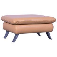 Koinor Rossini Designer Leather Footstool in Orange Yellow Full Leather