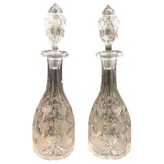 19th Century Pair of English Wine Decanters
