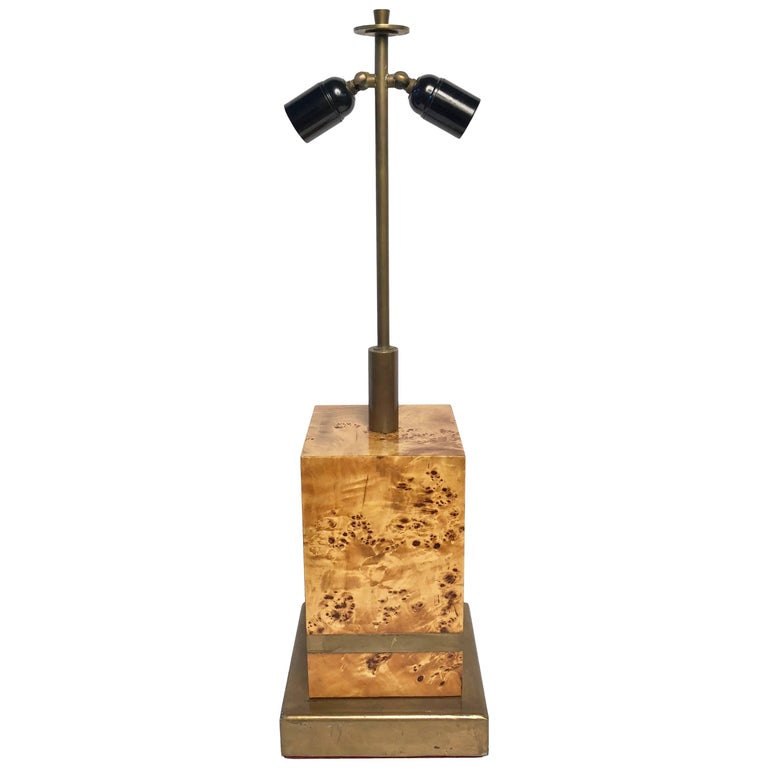 1970s Table Lamp by Willy Rizzo in Burl Wood and Brass