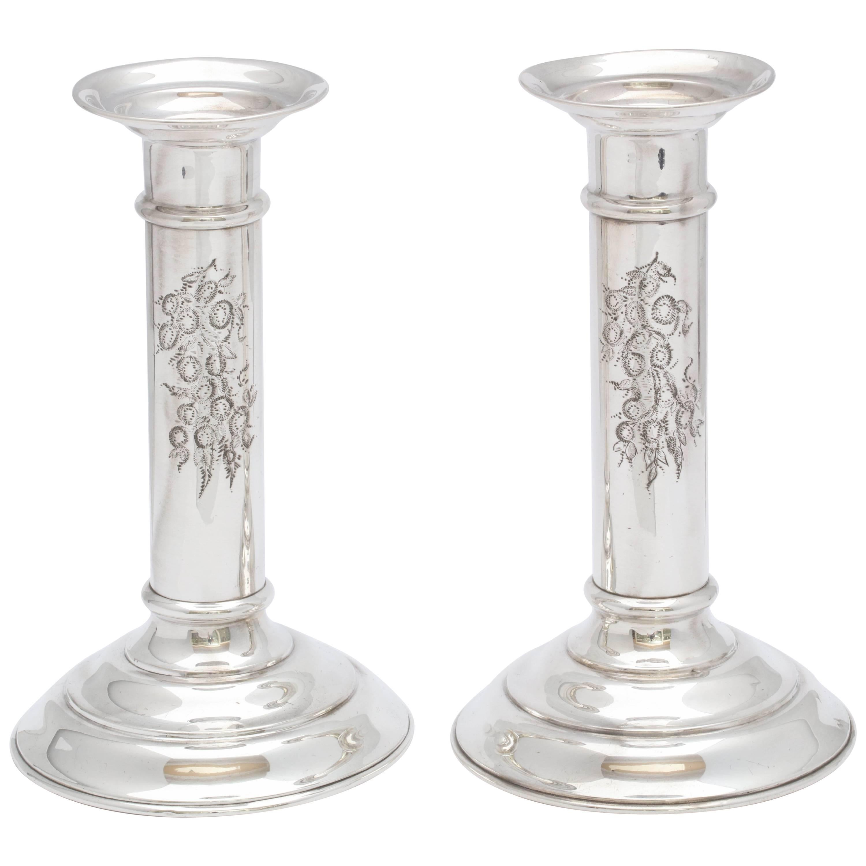Pair of Edwardian Sterling Silver Column-Form Candlesticks