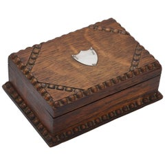 Arts & Crafts Sterling Silver-Mounted Oak Table Box with Hinged Lid