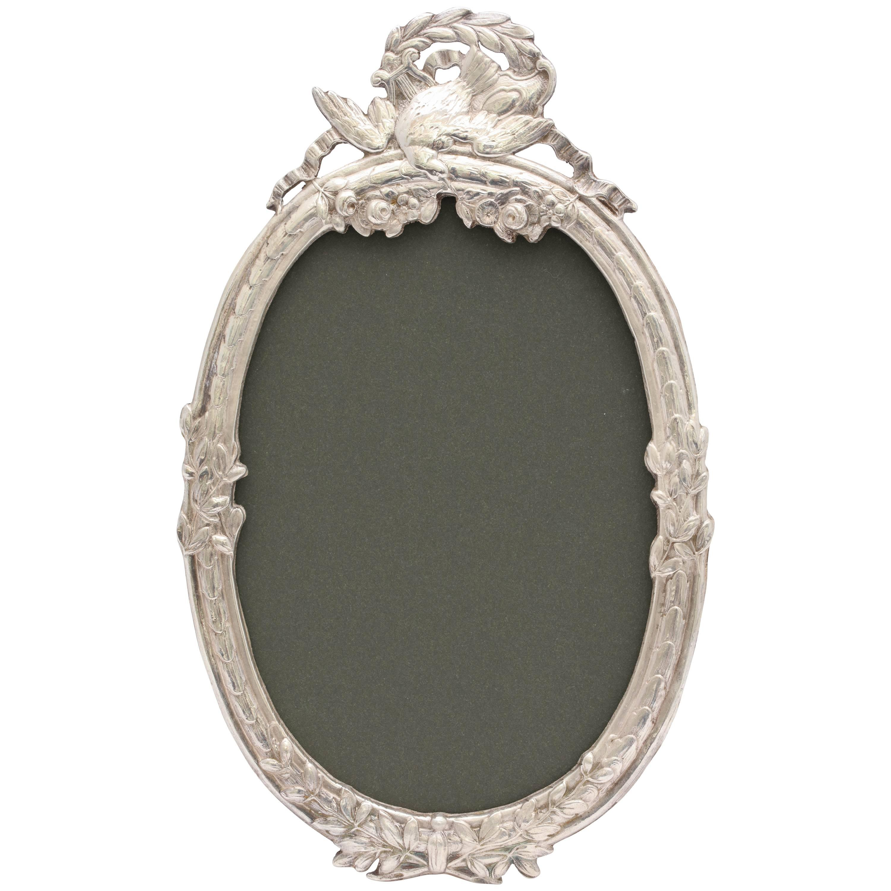 Beautiful Victorian Continental Silver '.800' Oval Picture Frame