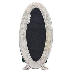 Beautiful and Rare, Art Nouveau, Footed, Sterling Silver Oval Picture Frame