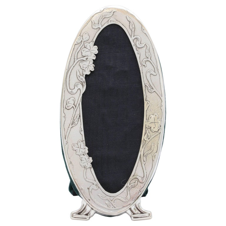 Beautiful and Rare, Art Nouveau, Footed, Sterling Silver Oval Picture Frame For Sale