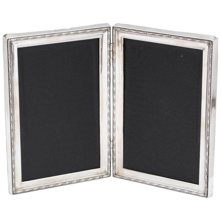 Art Deco Sterling Silver Hinged Double Picture Frame For Sale at 1stdibs