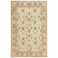 Antique Light Blue and Brown Persian Tabriz Rug
