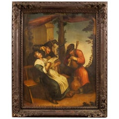 French Popular Scene Painting Oil on Canvas from 18th Century
