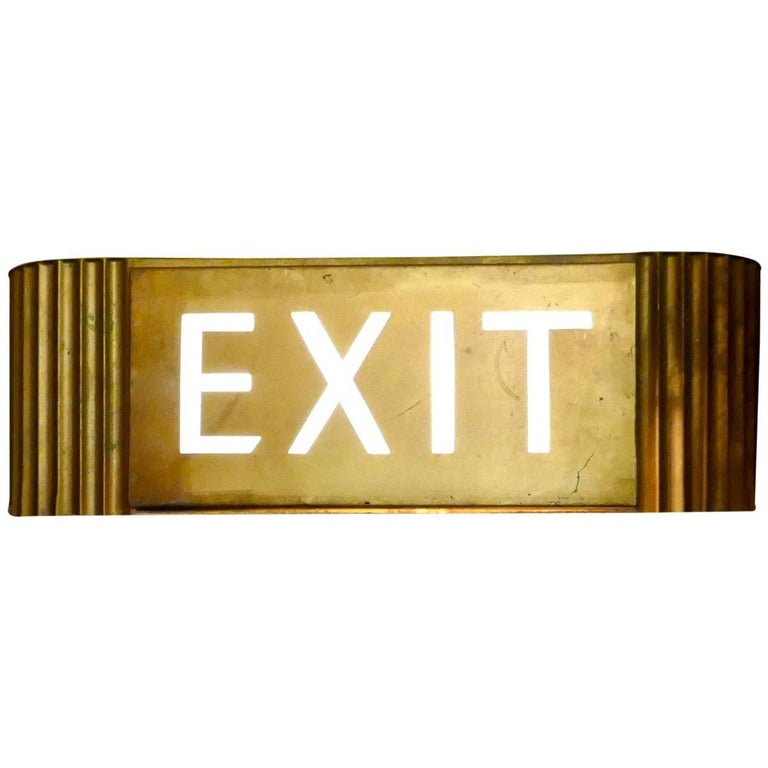 Gold Odeon Cinema EXIT Sign Electric Light