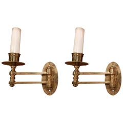 1960s Brass Pair of Swing Arm Piano Sconces