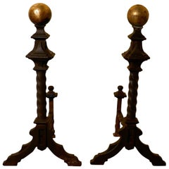 Large and Heavy Pair of French 19th Century Brass and Iron Andirons or Fire Dogs