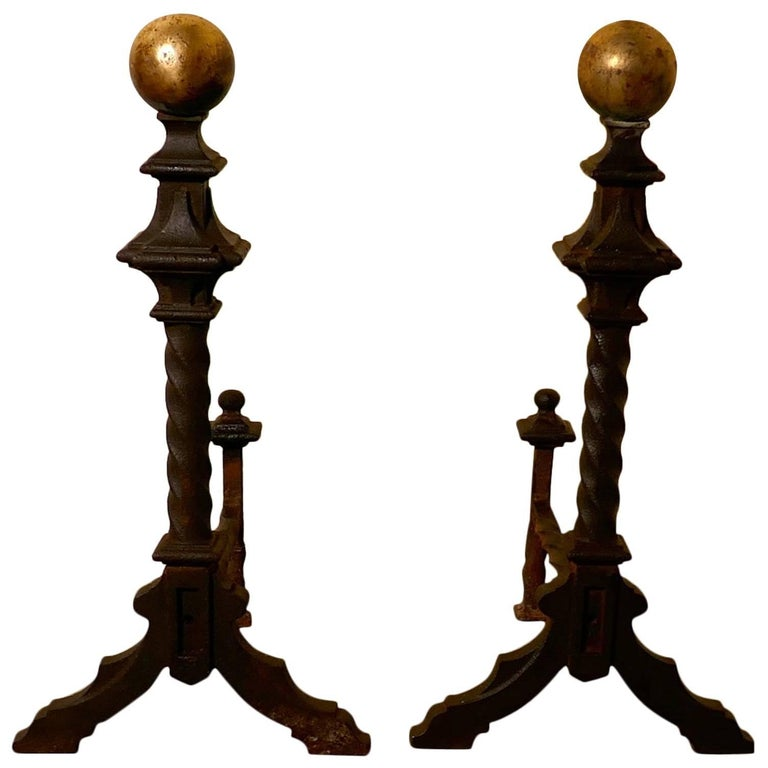 Large and Heavy Pair of French 19th Century Brass and Iron Andirons or Fire Dogs For Sale