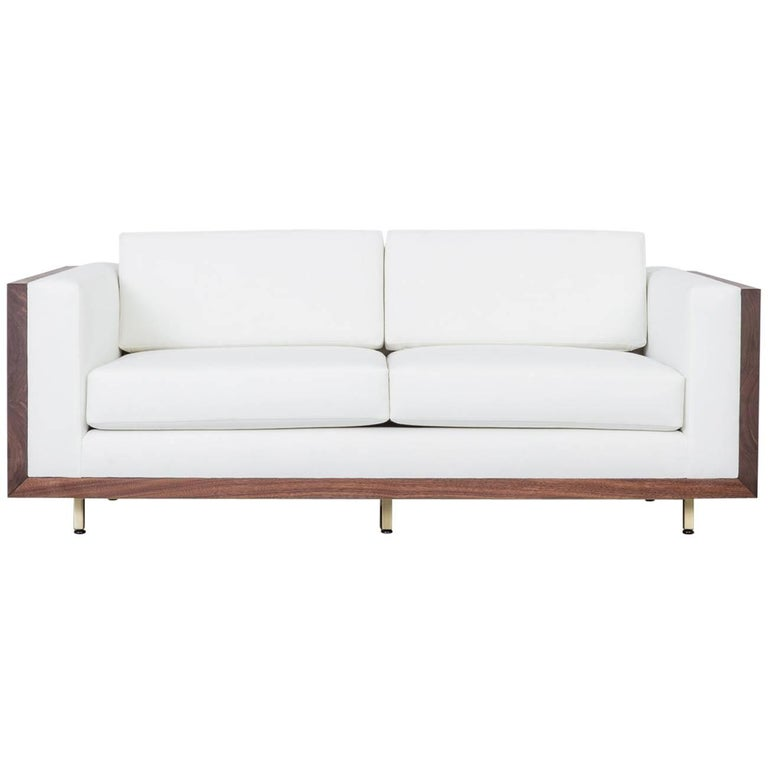 St. Pierre Sofa by Uhuru Claro Walnut Slab Frame, Brass Bass, and Alpaca Wool