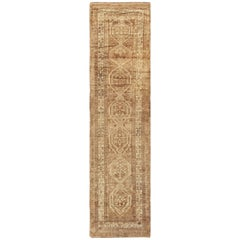 Neutral Earth Tone Vintage Persian Malayer Runner Rug