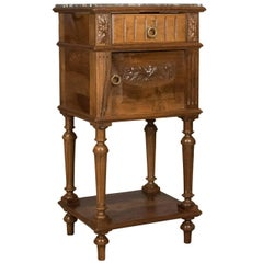Antique Bedside Cabinet, Victorian Marble Top Pot Cupboard, Walnut, circa 1900