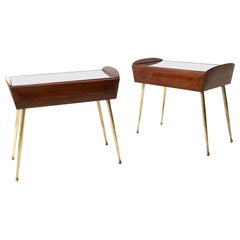 Pair of Walnut and Maple Nightstands with a Black Back-Painted Glass Top, 1950s