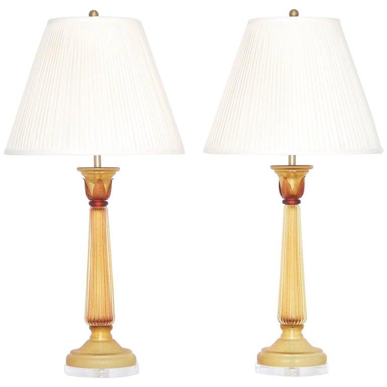 Seguso for Marbro Murano Glass Lamps in Amber Corroso
