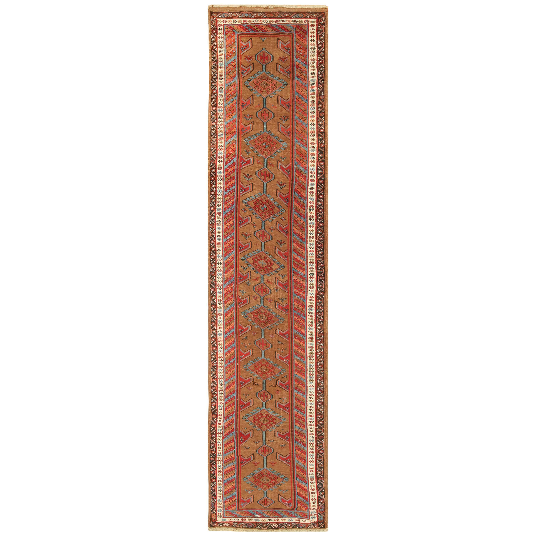 Antique Tribal Persian Bakshaish Runner Rug. Size: 3 ft 3 in x 14 ft