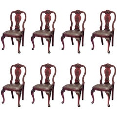 Set of Eight English Queen Anne Style Chinoiserie Dining Chairs