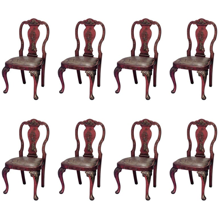 Set of Eight English Queen Anne Style Chinoiserie Dining Chairs For Sale