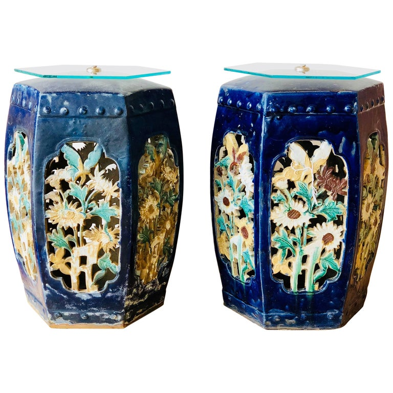 Garden Stools Pair of Blue Chinese Glazed CeramicSide Tables Drink Tables