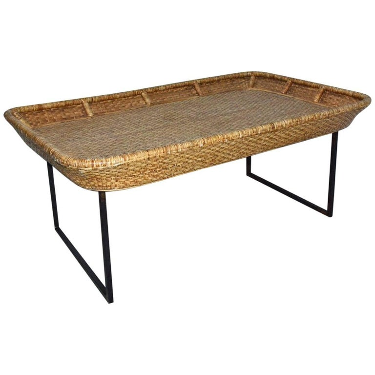 Large Wicker Tray Coffee Table For Sale