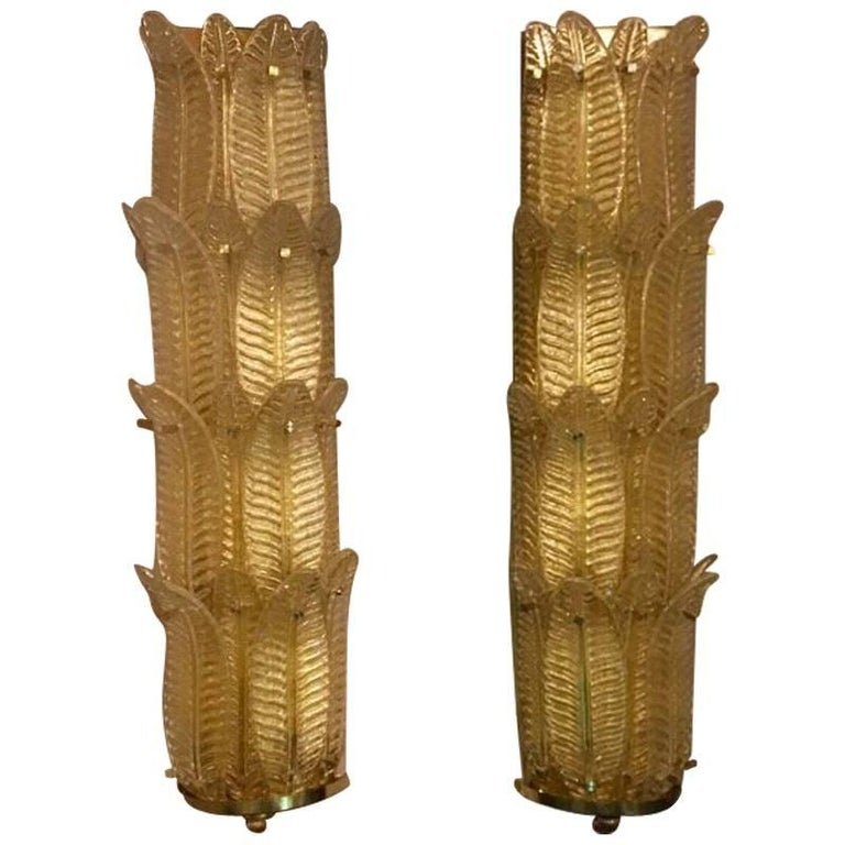 Pair of Murano Gold Leaves Big Sconces Brass Fittings, 1950s