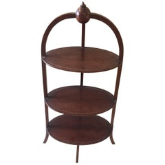 Rare 19th Century English Oval Three-Tier Side Table Muffin Stand