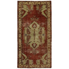 Distressed Vintage Turkish Oushak Rug with Rustic Nomadic and Artisan Style