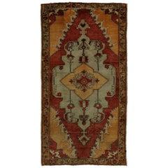 Vintage Turkish Oushak Yastik Accent Rug, Entry or Foyer Rug