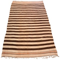 1950s Moroccan Handwoven Natural Wool Brown and Cream Stripes Kilim