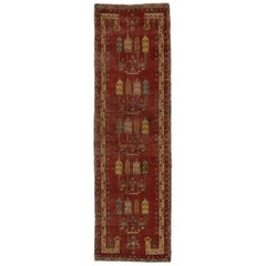 Vintage Turkish Oushak Hallway Runner with Spanish Revival Mission Style