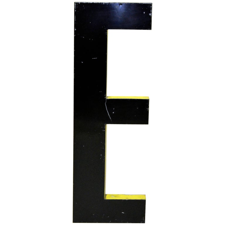1960s Large French Black Vintage Metal Capital Letter E with Yellow Profile