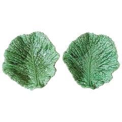 Large Majolica Green Cabbage Leaf Platter Sarreguemines, circa 1930