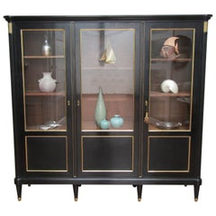 French 1930s Ebonised Oak Glazed Display Cabinet