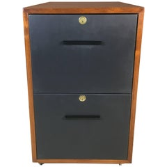 Mid-20th Century Teak and Leather Front Rolling File Cabinet