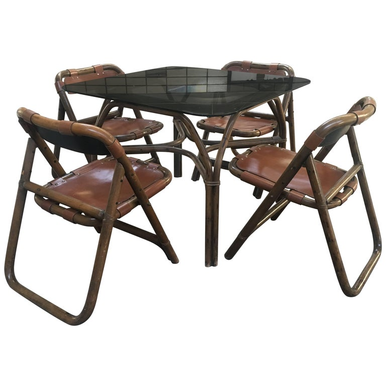 Dining or Living Room Set in Bamboo from 1970s Distributed by Lyda Levi