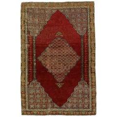 Vintage Turkish Oushak Accent Rug, Entry or Foyer Ru