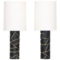 Vivarini Murano Glass Table Lamps in Black Giraffe Pattern