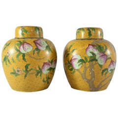 20th Century Cloisonne Ginger Jars with Lids in Peach Tree Pattern