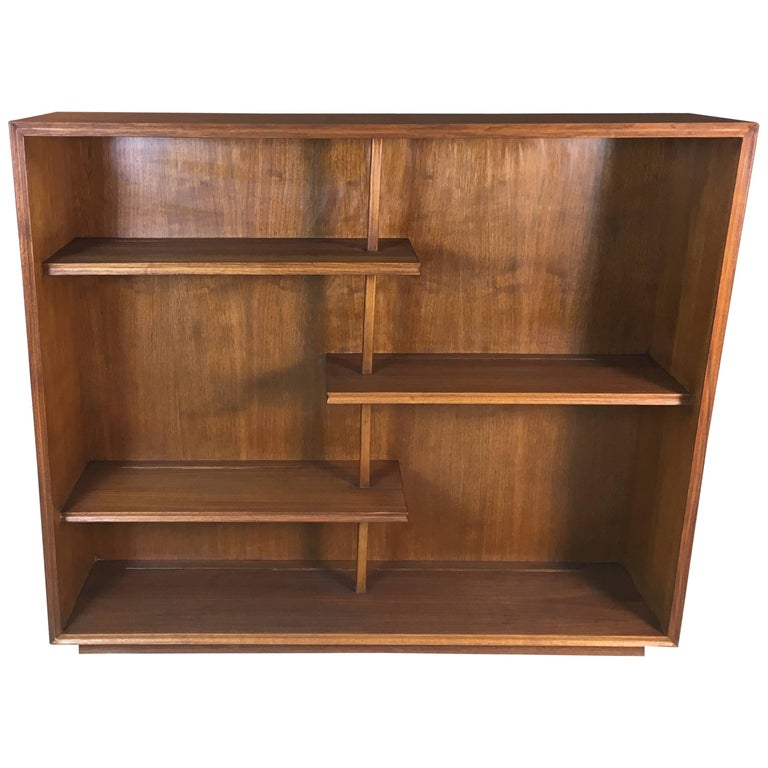 Mid-20th Century Walnut Wood Display Shelving Unit