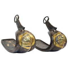 Pair of 19th Century Japanese Silver Inlaid Iron Stirrups