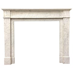 Antique French Louis XVI Style White Carrara Marble Fireplace Surround