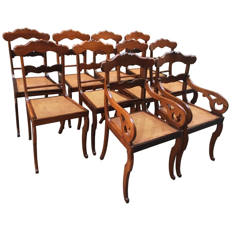 19th Century West Indies Regency Rosewood and Cane Set of Ten Dining Chairs