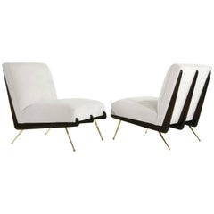 Walnut Boomerang Lounge Chairs on Brass Legs