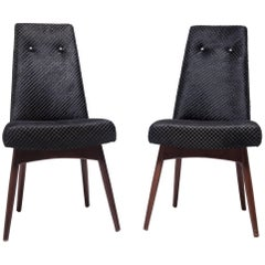 Pair of Vintage Pearsall Chairs in Black Hair on Hide
