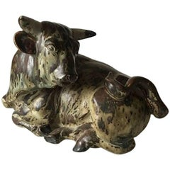 Royal Copenhagen Knud Kyhn Stoneware Figurine of a Resting Bull No. 2595