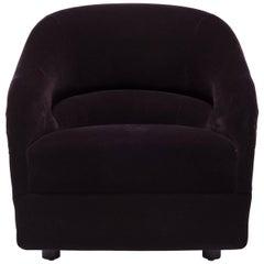 Vintage Ward Bennett Barrel Lounge Chair in Eggplant Mohair