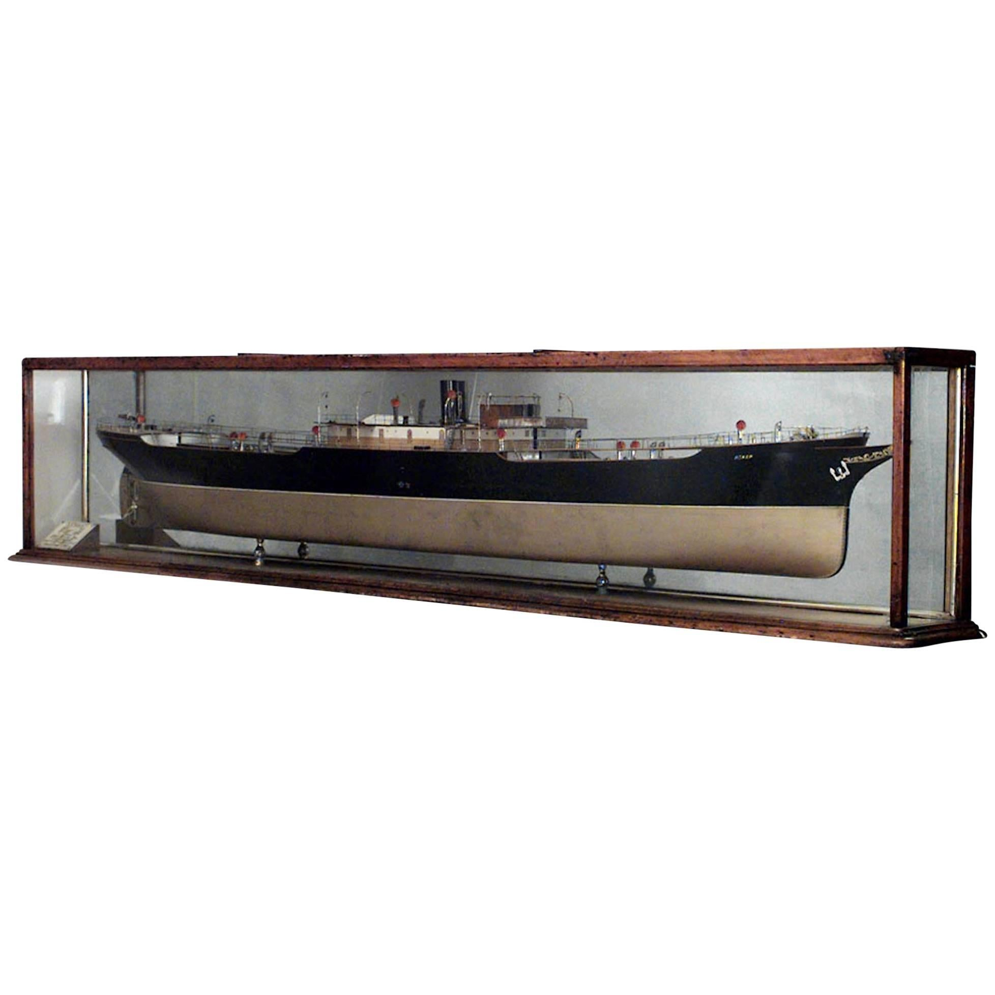 Ship Model of Black and Gold Painted Half Hull in Oak and Glass Case