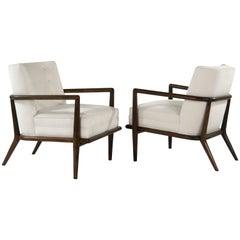 T.H. Robsjohn-Gibbings Walnut Lounge Chairs, Model No. 1721